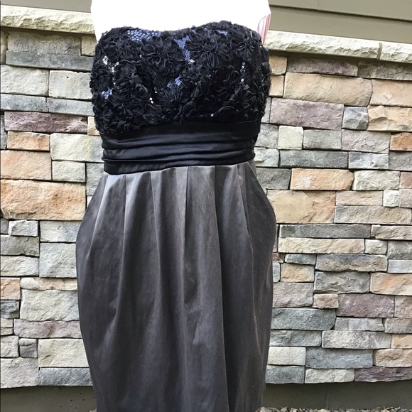 Maurices Dresses & Skirts - Strapless grey/black prom dress, 2 pockets